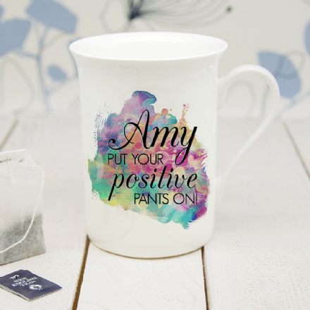 Bone china positive pants mug